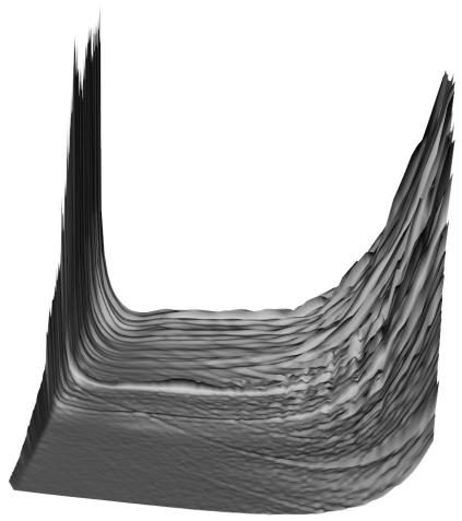 Three-dimensional visualisation of the 'bathtub', based on female mortality patterns using data from England & Wales. Infant mortality on the left; elderly mortality on the right.