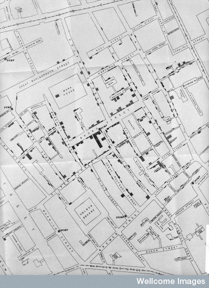 L0005796 Area around Golden Square during Cholera Epidemic.
